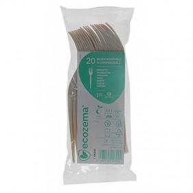 Forchette monouso - Biodegradabili e Compostabili in Mater-Bi® 166 mm Pezzi 20