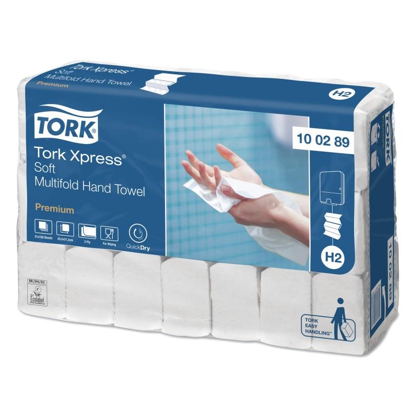 Tork Xpress Asciugamani 2 Veli Soft Premium da 150 Fogli - Imballo